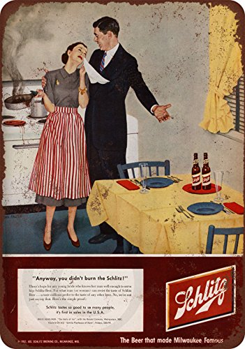 1952 Schlitz Beer Burned Dinner vintage Reproduction metal Sign 8 x 12