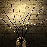 3 Pack 18'' Lighted Twig Branches Battery Operated, 48 Warm White Led Lights Artificial Pussy Willow Branches for Vase, Decorative Lamp for Indoor and Outdoor Décor