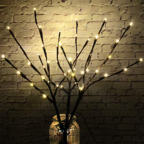 TOPNEW 3 Pack 18'' Lighted Twig Branches Battery Operated, 48 Warm White Led Lights Artificial Pussy Willow Branches for Vase, Decorative Lamp for Indoor and Outdoor Décor