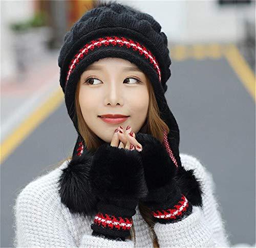 Niñas Invierno Hats negro Gorras Punto Calor Tres Guantes Beanie Pompom Hat Knit con Bolas Mujeres Set Sombreros Sombrero Elasticidad Hecho Lindo c8YBwqBU