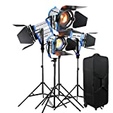 Alumotech Dimmer Built-in Fresnel Tungsten 650WX2+1000WX2+ Air Cushioned Stand 3300W Spotlight Halogen Lamp Studio Video Light Kit For Camera Photographic Lighting Compatible Bulb