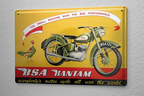 Tin Sign 125 Motorcycle BSA Bantam Rooster Big Performence lightweight