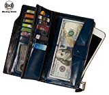 Noedy RFID Blocking Women's Large Capacity Trifold Checkbook Wallet Wax Genuine Leather Card Holder Zipper Pocket Purse Clutch (Peacock Blue)