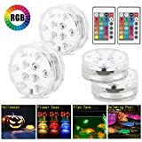 LinkStyle Submersible Led Lights Remote Control, Waterproof Pond Light Multi Color Battery Powered Vase Based Floral Lamp Wedding Party Pool (4 Pack)