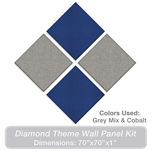 """ADW Acoustic Panels 70"""" X 70"""" X 1"""" Diamond Theme Kit – Quick Easy DIY Install - Various Color Combos by Acoustic Design Works"""