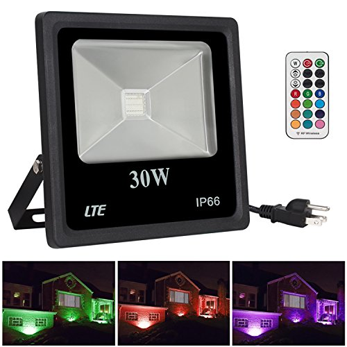 LTE LIGHTING EVEN 10203001RGB-US 30W Remote Control RGB LED Flood Lights, IP66 Water-Proof, Color Changing Security Light, 16 Different Colors, US 3-Plug, Security Lights, Wall Light