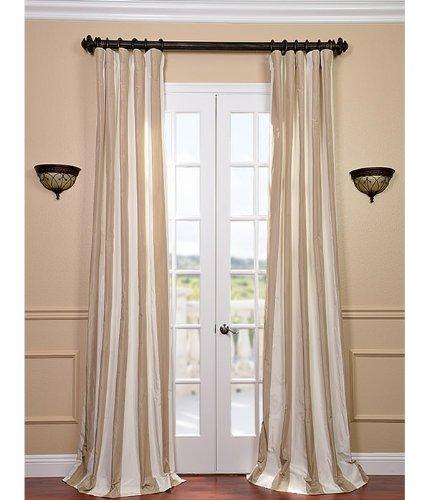 Half Price Drapes PTSCH-SLK218-96 Faux Silk Taffeta Stripe Curtain, Cappuccino