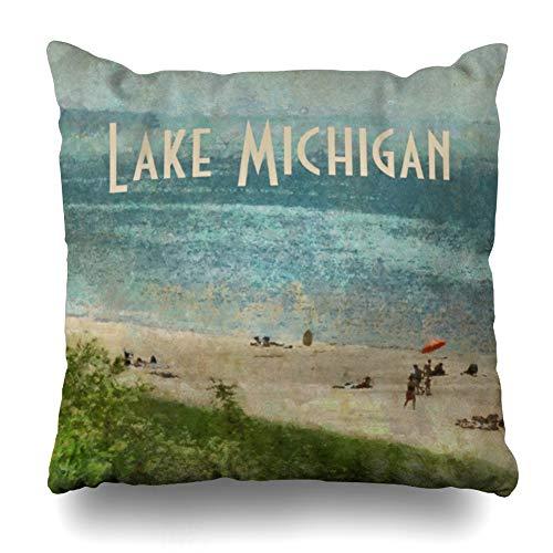 - Ahawoso Throw Pillow Cover Square 20x20 Inches Retro Lake Michigan Shoreline Beach Decorative Pillow Case Home Decor Pillowcase