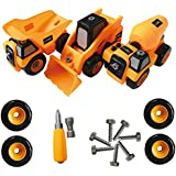 Zeliku Construction Take Apart Trucks STEM LearningToys, (Set of 3 Truck Toys), Dump truck, Cement Truck & Digger Toy, W Tools, Great Gift For Boys & Girls Ages 3 - 12 Years Old
