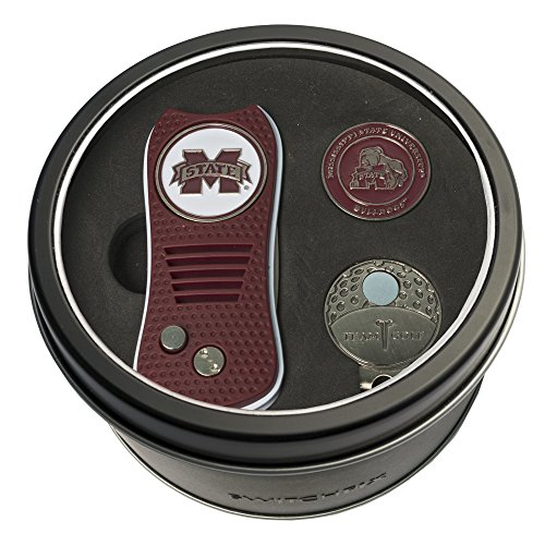 Team Golf NCAA Mississippi State Bulldogs Gift Set Switchblade Divot Tool, Cap Clip, & 2 Double-Sided Enamel Ball Markers, Patented Design, Less Damage to Greens, Switchblade Mechanism