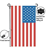 "Garden Flag Stand Pole Holder with Garden Flag Stopper and Anti-Wind Clip 36.22"" H x 16.53"" W for Premium Metal Wrought Iron Powder Coated Weather-Proof Paint Steel Without Flag (Black)"