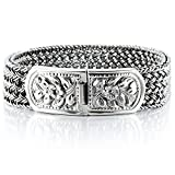 925 Sterling Silver Men Braided Wide Bracelet - Made in Thailand - 8