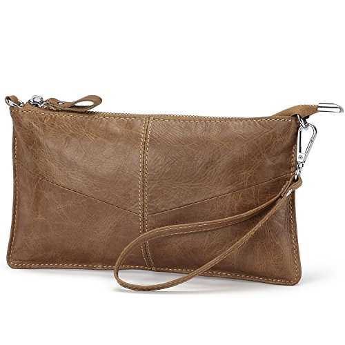 Lecxci Leather Crossbody Purses Clutch Phone Wallets with Card Slots for Women (Wax leather, Tan)