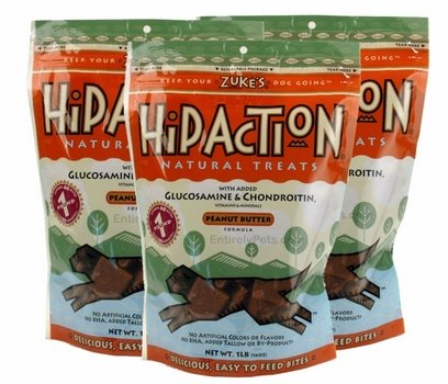 3 Packs Zuke's Hip Action with Glucosamine and Chondroitin PEANUT BUTTER (3 lb)