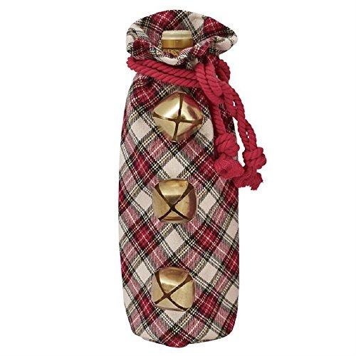 Jingle Bell Tartan Plaid Drawstring Wine Bag (White Tartan)