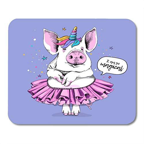 Semtomn Mouse Pad Cute Pig in Ballerina Tutu Unicorn Mask on Light Mousepad 9.8