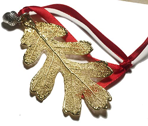 - Real Golden Oak Lacy Leaf Ornament with Acorn Charm, Genuine Leaf, Christmas Holiday Decor