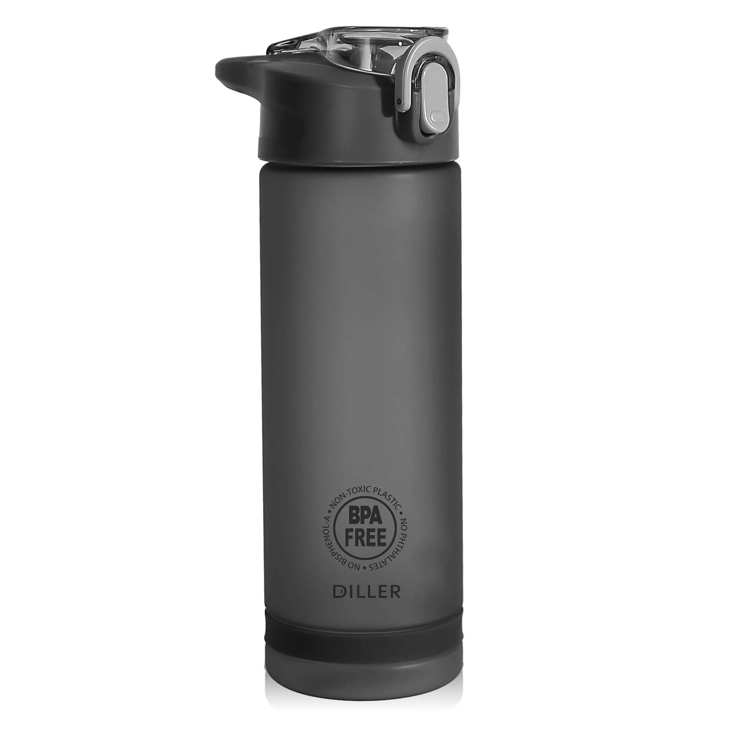 335cf855633 Amazon.com : Diller Water Bottle with Straw, Tritan Plastic BPA-Free Sport  Water Bottle with Flip-Flop Lid, 25 Oz (Black) : Sports & Outdoors