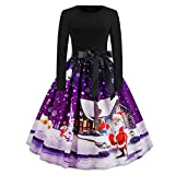 WOCACHI Final Clear Out Christmas Vintage Dresses Womens Long Sleeves Vintage Swing Dress Bowknot Sashes A Line Bodycon Xmas Knee Length Snowman Belt Santa Claus Maxi Mini Evening Prom Party Costume