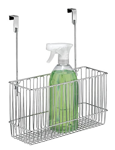 mDesign Over The Cabinet Kitchen Storage Organizer Basket for Aluminum Foil, Sandwich Bags, Cleaning Supplies - Chrome