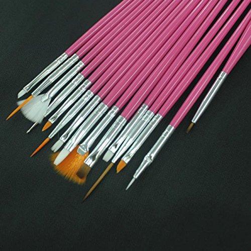 Nail Art Brush Pen Set, Nail Decals And Decorations 15PCS Nail Art Design Dotting Painting Drawing Polish Brush Pen Tools (Hot pink) BeautyYou