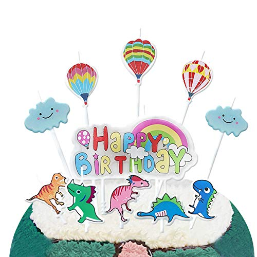 pinkblume Dinosaur Happy Birthday Candles,Cute Jungle Animals,Cloud,Hot Air Ballons, Rainbow Happy Birthday Letters Cake Topper Candles for Kids Birthday Party Decorations. -