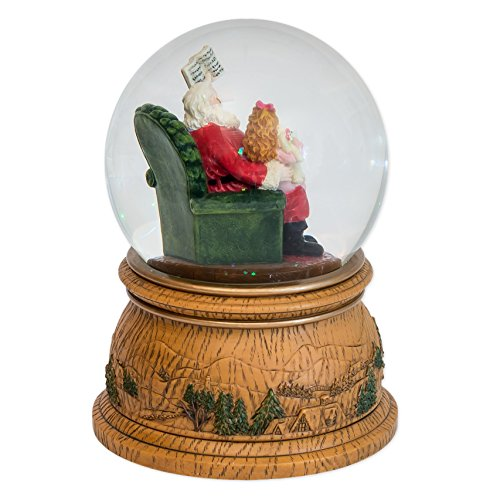 MusicBox Kingdom Snow Globe with a Rotating Scene with Santa Reading to a Small Girl Sitting on His Lap Plays a Christmas Melody Decorative Item by Musicbox Kingdom (Image #2)