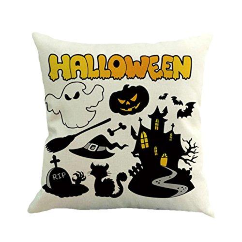 Muranba Halloween Ghost Pumpkin Pillow Case Sofa Waist Throw Cushion Cover Home Decor (B, White)