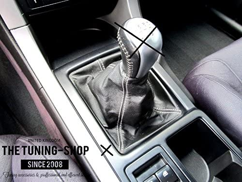 FOR CADILLAC CTS V 2004-2007 SHIFT BOOT BLACK GENUINE LEATHER GREY STITCHING