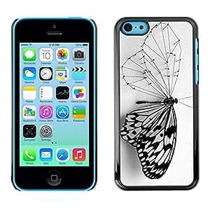 SKCASE Center / Funda Carcasa - Elegante Negro Ala Blanca;;;;;;;; - iPhone 5C