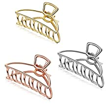 Emoly 3 Pack Large Metal Claw Clips Hollow Non-Slip Hair Catch Jaw Clamp for Women Girls Hair Barrette for Fixing Hair (Silver&Gold&Rose Gold)