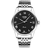 Aposon Mens Analog Watches, Roman Numeral Quartz Watches Stainless Steel Business Casual Wristwatch Luxury Dress Watch for Men Water Resistant with Calendar Date Window