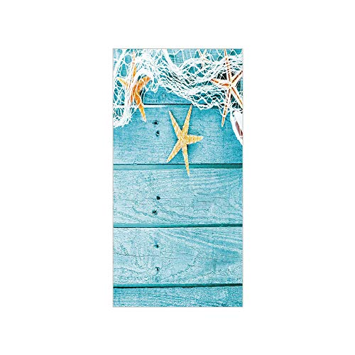 Decorative Privacy Window Film/Rustic Wood Boards Fishing Net and Ocean Animals Nautical Print Decorative/No-Glue Self Static Cling for Home Bedroom Bathroom Kitchen Office Decor Turquoise White Orang (Ripple Wave Board)