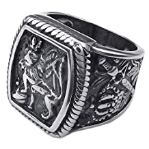 Konov Jewelry Mens Stainless Steel Ring, Vintage Gothic Crown Leo King Signet, Black Silver, with Gift Bag, C24816