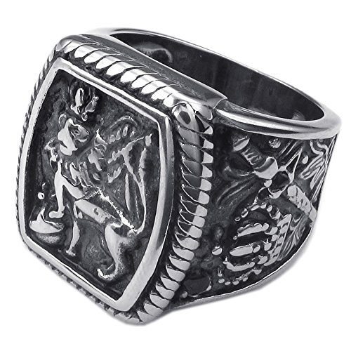 KONOV Mens Stainless Steel Ring, Vintage Gothic Crown Leo King Signet, Black Silver, Size 8