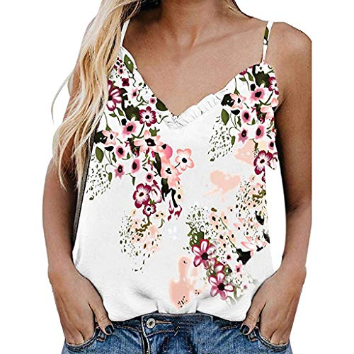 (Drindf Womens Top Women's Floral Printed V Neck Camisole, Sleeveless Ruffle Shirts Blouse, Casual Tank Tops for Ladies White)