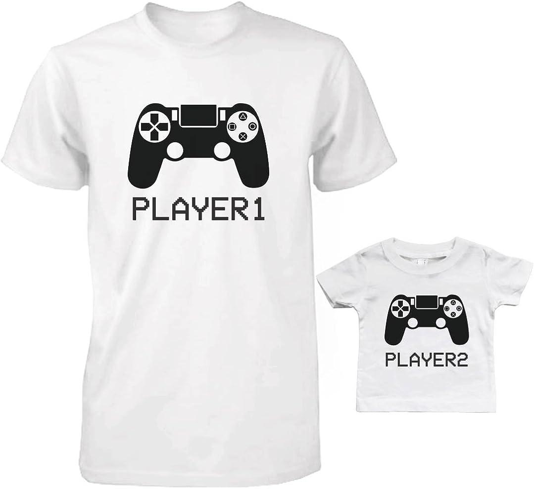 365 Printing Daddy y bebé a Juego Camiseta y bebé Camiseta Set–Reproductor Reproductor de 1& 2