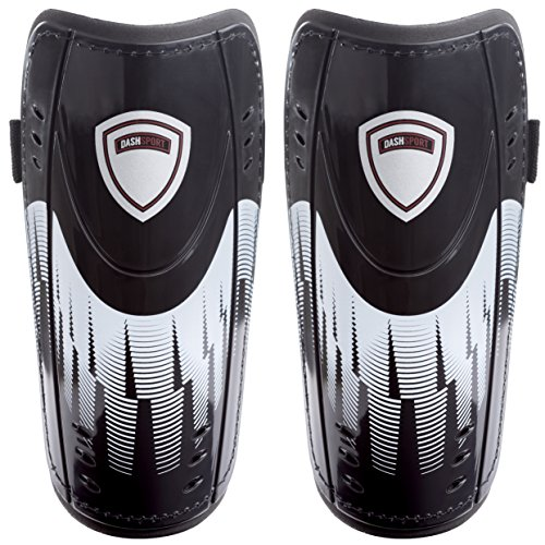 DashSport Soccer Shin Guards, Dual Strap Design -Youth Sizes Best Kids Soccer Equipment with Adjustable Straps - Great for Boys and Girls