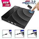 External CD DVD Drive Upgraded Version, Tintec USB 3.0 Type C Dual Port DVD +/-RW Rewriter Burner with Touch Control, High Speed Data Transfer,Slim Portable for Notebook Laptop PC Windows/Mac OS etc