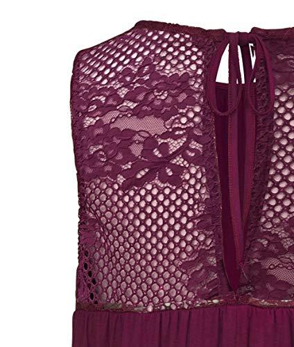 DOTIN Damen Sommer Top Ärmellose Blusentop Tank Top Elegant Weste Top Einfarbig Blumen Muster Spitzen Shirt