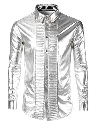 JOGAL Mens Metallic Silver Nightclub Styles Long Sleeves Button Down Dress Shirts (US XXL|Label XXXL, Long Sleeve Silver| LC01) -