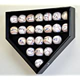 23 Baseball Display Case Cabinet Holder Wall Rack Home Plate Shaped w/ UV Protection- Lockable -Black