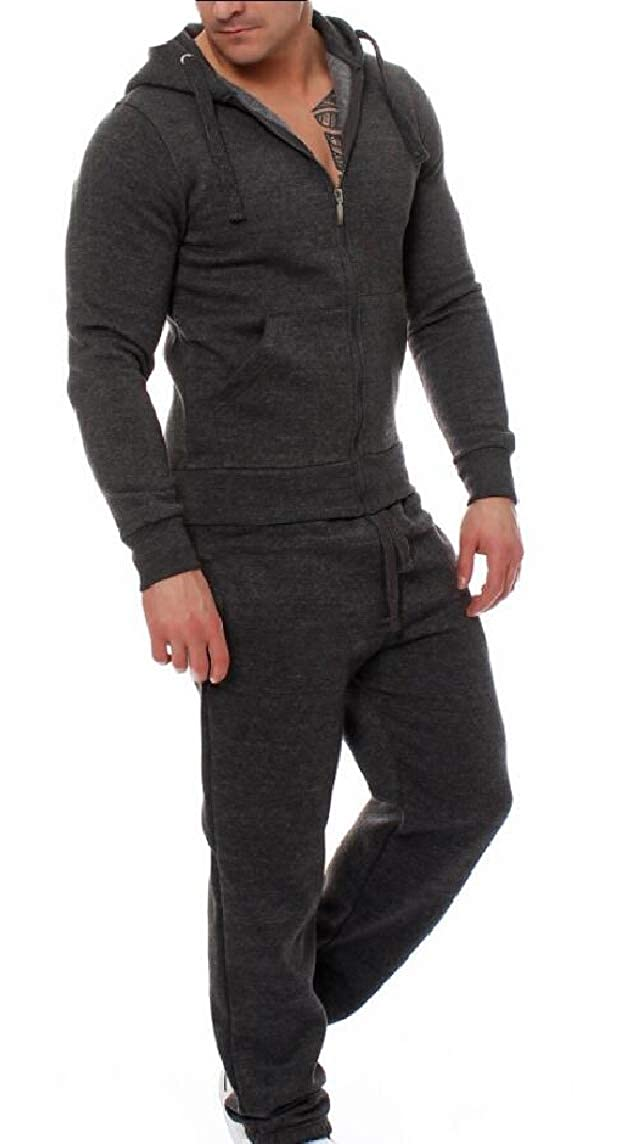 Dark Grey XSmall maweisong Men 2 Pieces Zipper Hooded Jackets Pants Tracksuit Outfit Set
