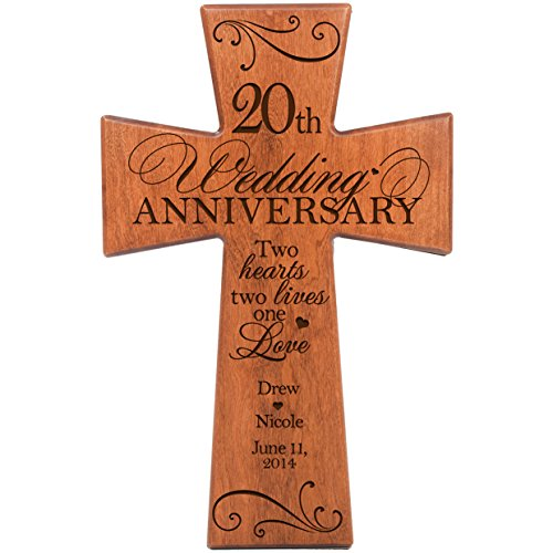 Personalized 20th Wedding Anniversary Cherry Wood Wall Cross Gift for Couple 20 year Anniversary Gifts for Her, Anniversary Gifts for Him Two Hearts Two Lives One Love (12