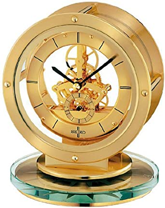 Seiko Mantel Clock With Quartz/Skeleton Movement Gold Finish QHG038G:  Amazon.co.uk: Watches