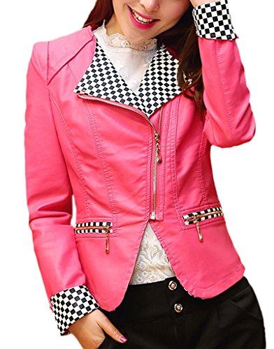 Bigood Veste Moto Femme Faux Cuir Manteau Court Manches Longues Zip Rose Rouge