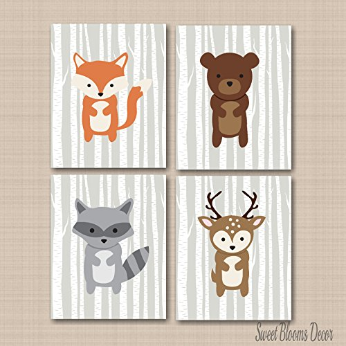Woodland Nursery Wall Art,Woodland Wall Art,Woodland Baby Room Wall Art, Woodland Tales Wall Art, Forest Friends Wall Art.Fox Bear Deer Raccoon Nursery Wall Art- UNFRAMED 4 PRINTS (NOT CANVAS)C312