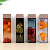 Jia Jia Trade Square Water Bottle With Wood Grain Lid 15oz Durable Plastic