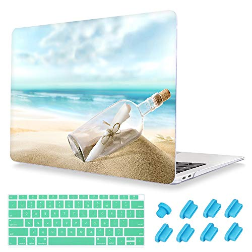 Maychen Macbook Air 13.3 case (without Touch ID), Summer style Pattern Plastic Hard Crystal Clear Hard shell case for Mac book Air 13 inch (Models:A1466/A1369)- Drift bottle
