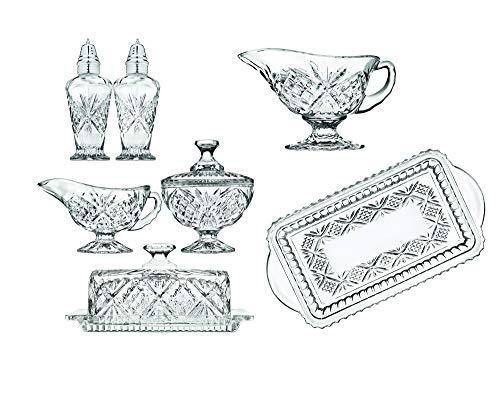 Godinger 8 Piece Hostess Serveware Set - Salt and Pepper Shakers, Butter Dish, Gravy Ladle, Gravy Boat, Sugar and Creamer, Serving Tray - Dublin Collection
